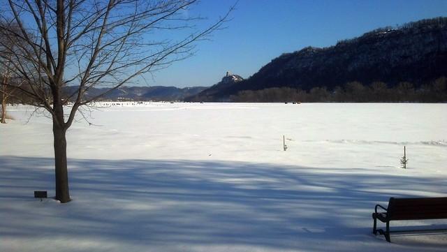 snow-covered, frozen lake Winona