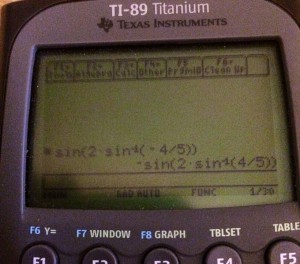 Photo of the calculator screen showing what is described above.